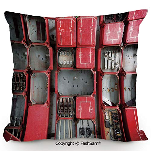Throw Pillow Covers Fuse Cabinet Close Up Industrial Type Junction Cables Box Electricity Decorative for Couch Sofa Home Decor(18