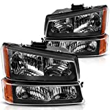 Headlight Assembly Kit, Headlamps Replacement for 03 04 05 06 07 Chevy Silverado 1500HD/03 04 05 06 Chevy Silverado 2500HD/03 04 05 06 Chevy Avalanche, Black Housing with Front Signal Light