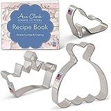 Ann Clark Cookie Cutters 3-Piece Princess Cookie Cutter Set with Recipe Booklet, Crown/Tiara, Glass Slipper & Dress