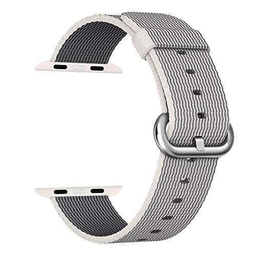 MXY Fine Woven Nylon Strap Replacement Wrist Classic Bracelet Watch Band For Apple iWatch Series 1 Series 2 (42MM-Pearl)