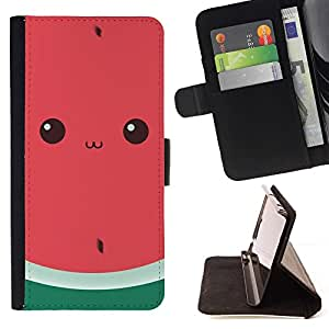 - Funny Watermelon Cute Drawing Eyes/ Personalized Design Custom Style PU Leather Case Wallet Flip Stand - Cao - For Samsung Galaxy J3