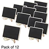 Set of 12 Mini Wooden Framed Table Number Chalkboard Signs with Stand