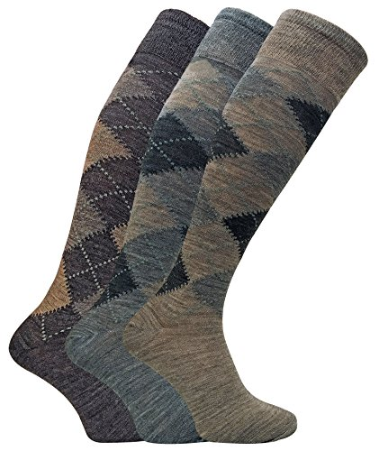 3 Pack Mens Warm Extra Long Knee High Argyle Lambs Wool Socks in Brown or Grey (7-12 US, ELLW Brown)