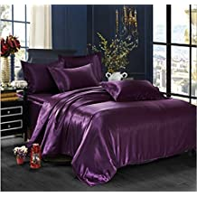 Simonshop 4pcs Super Soft Bedding Set King Queen Size Silk Comforter Bedclothes Duvet Cover Set Pillowcase (dark purple)
