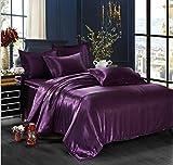Purple Super King Duvet Sets Simonshop 4pcs Super Soft Bedding Set King Queen Size Silk Comforter Bedclothes Duvet Cover Set Pillowcase (dark purple)