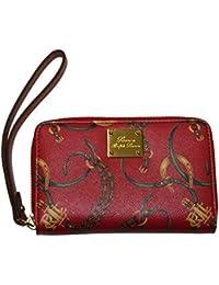 Polo Ralph Lauren Women Equestrian Clutch Leather Long Wallet Wristlet Red  Brown