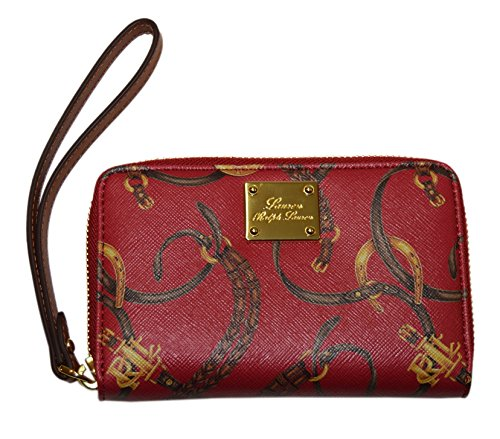 Polo Ralph Lauren Women Equestrian Clutch Leather Long Wallet Wristlet Red Brown