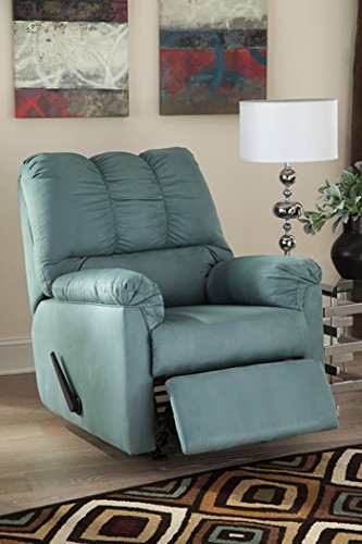 Ashley Furniture Signature Design - Darcy Rocker Recliner - Manual Pull Tab Reclining - Contemporary - Sky - Sky Blue Rocker
