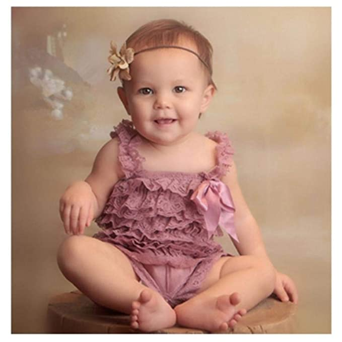 8efc5bf81d10 Image Unavailable. Image not available for. Color  Baby Lace Rompers Infant  Lace Romper with Straps Ribbon Bow Kids Jumpsuit Baby Girls Lace Ruffled