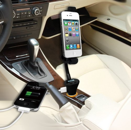 -in-one FM-Transmitter, charger, speakerphone, carmount for iPhone 5 and iPod 5th Gen. with 8-pin dock - DLX-28i5 (Ipod Dock Fm Transmitter)