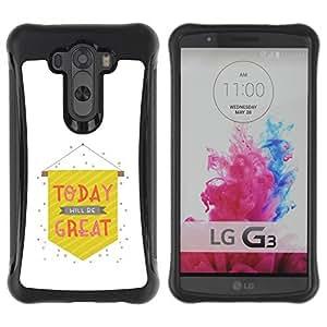 Pulsar iFace Series Tpu silicona Carcasa Funda Case para LG G3 / D855 / D850 / D851 , Oggi Grande White Flag testo minimalista