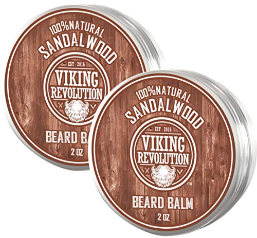 Best Deal Beard Balm with Sandalwood Scent and Argan & Jojoba Oils – Styles, Strengthens & Softens Beards & Mustaches – Leave in Conditioner Wax for Men by Viking Revolution (2 Pack)