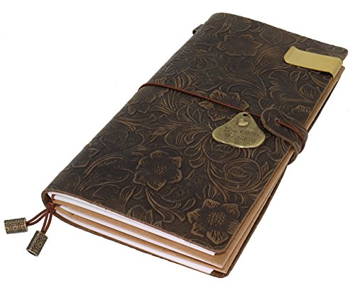 Portfolio Mini Embossed (Travelers Notebook 100% Top Grain Vintage Leather Journal Flower Embossed Refillable Travelers Notebook Composition Journal With Ballpoint Pen, Gift for Men & Women, Perfect to write in -Brown)