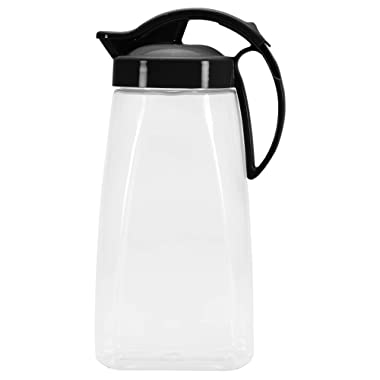 QuickPour Airtight Pitcher with Locking Spout Japanese Made - For Water, Coffee, Tea, Other Beverages - 2.3 Quarts - Clear with Black Top