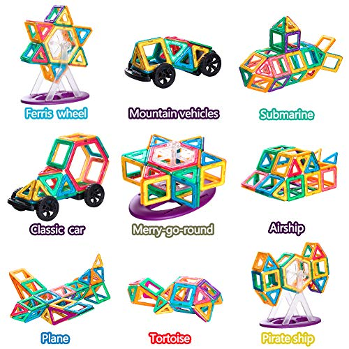Gifts2U Magnetic Building Blocks Set-152PCS Creative Magnetic Tiles Building Kit Preschool Educational Construction Kit Magnet Stacking Toys for Kids Toddlers Boys Girls by Gifts2U (Image #5)