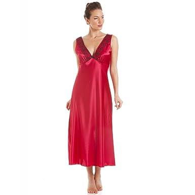5a20322933db07 Camille Damen Nachthemd aus Satin - Schwarze Stickerei - Rot 38/40 ...