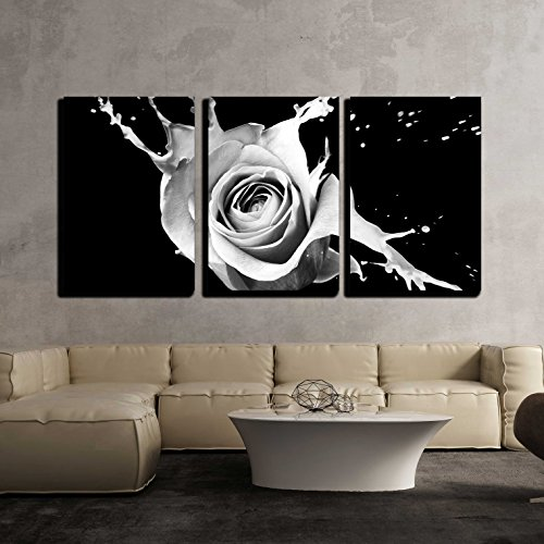 "wall26 - 3 Piece Canvas Wall Art - Rose with Red Splashes on Black Background - Modern Home Decor Stretched and Framed Ready to Hang - 16""x24""x3 Panels"