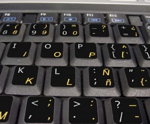 TRADITIONAL -ENGLISH NON-TRANSPARENT KEYBOARD STICKERS ON BLACK BACKGROUND FOR DESKTOP SPANISH LAPTOP AND NOTEBOOK