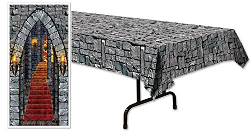 happy deals Stone Table cover and Castle Door Banner set - Great for Wizard and Medeival theme ()