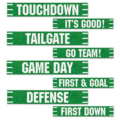 Beistle Football Street Signs Cutouts, 4 by 24-Inch, Green/White