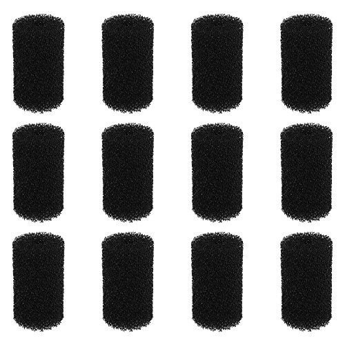 (Bluecell 12pcs 6 x 3.5cm Black Color Pre-Filter Foam Sponge Roll for Aquarium Fish Tank)