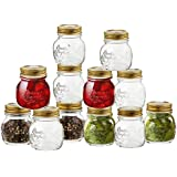 Paksh/Bormioli Rocco Quattro Stagioni 12 Piece, 8.5 Ounce Glass Decorative Mason Jar for Canning / Storing with Airtight Gold Metal Lid, Made In Italy