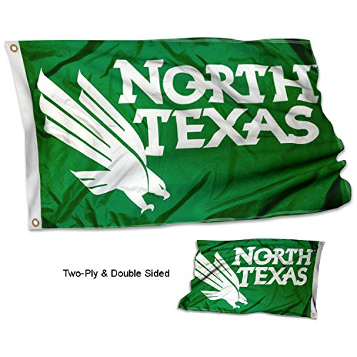College Flags and Banners Co. North Texas Mean Green Double Sided Flag (Unt Flag)