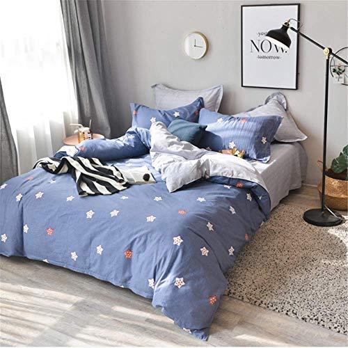 SSHHJ Textile Teen Bedding Set Adult Soft Duvet Cover Pillowcase Bed Sheet E 200x230cm