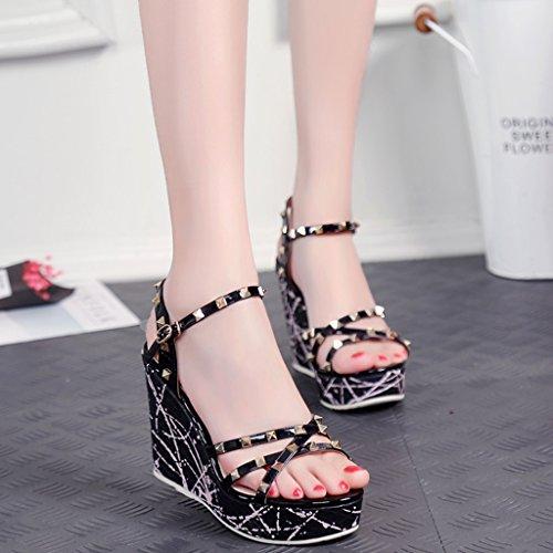 Personalizadas Tacón Cm Color Plataforma Tacones Fiesta Dedo Alto De Size Salvaje 10 Black Moda Verano Mujer 34 Sandalias Zapatos Cuñas w4qYvwO