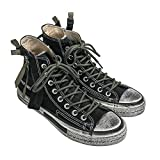 Men's High Top Classic Canvas Sneakers Personalities Fashion Lace-up Shoes(Black/42/8 D(M))