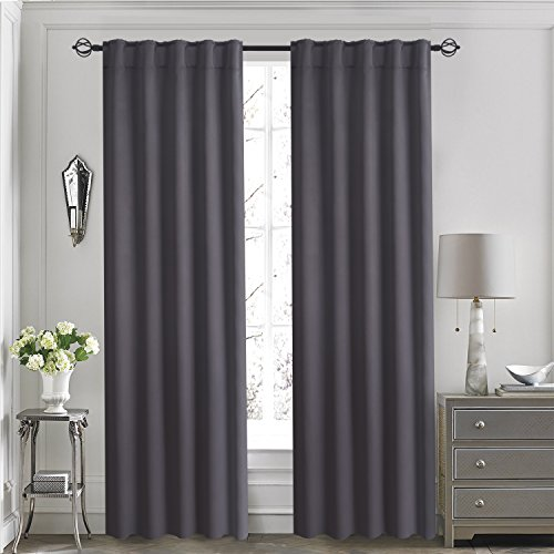 Aquazolax Back Tab/ Rod Pocket Solid Thermal Blackout Window Treatments Curtains/ Drapes for Living Room, 2-Pack, 52inch x 84inch, Grey