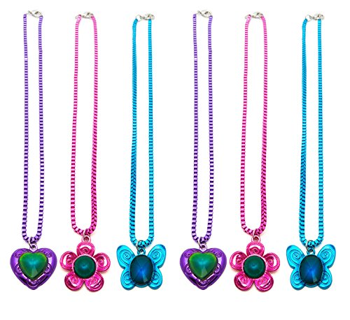 6 Pieces Color Changing Mood Stone Metallic Pendant Necklaces - Great Party Favors (Box Chain)