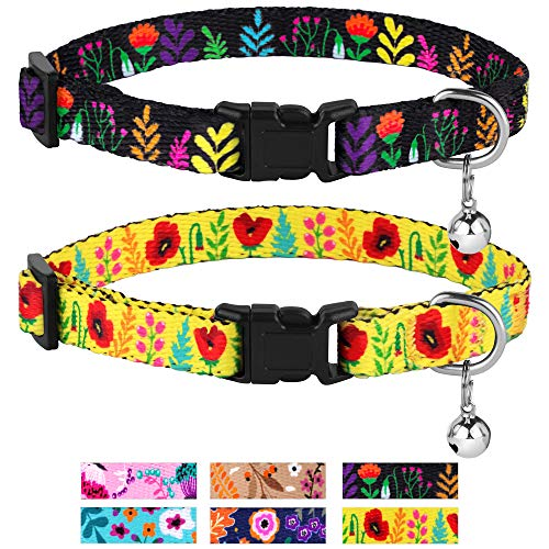 CollarDirect Cat Collar Floral Pattern 2 PC Set Flower Adjustable Safety Breakaway Collars for Cats Kitten with Bell (Black + Yellow)