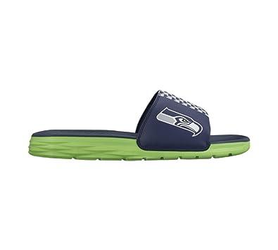 Men's Nike Benassi Solarsoft Seattle Seahawks NFL Sandal College Navy/Action  Green Size 8 M