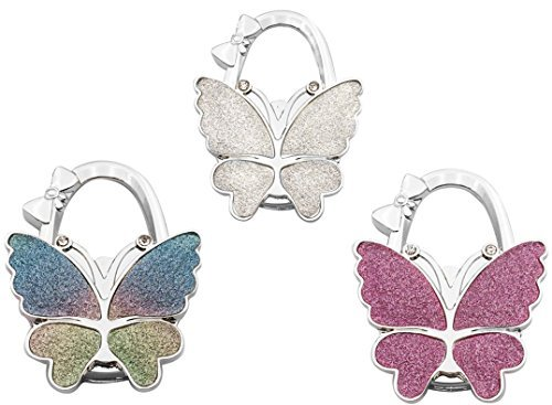 3PC Butterfly Purse Handbag Hook Folding Hanger for women gift Foldable Shoulder/Handbag/Backpack Purse Hangers Table Chair Holder Hook ()