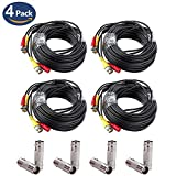 59ft BNC Video Power Cable 4 Pack,CANAVIS BNC Cable Security Camera Wire Cord for CCTV DVR Surveillance System, with Eight Connectors