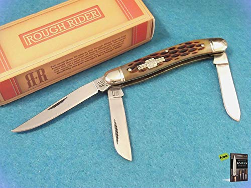 Folding Pocket Knife ROUGH RIDER RR438 Stockman Amber jigged bone pocket Hunting Tactical Knife 3 1/2