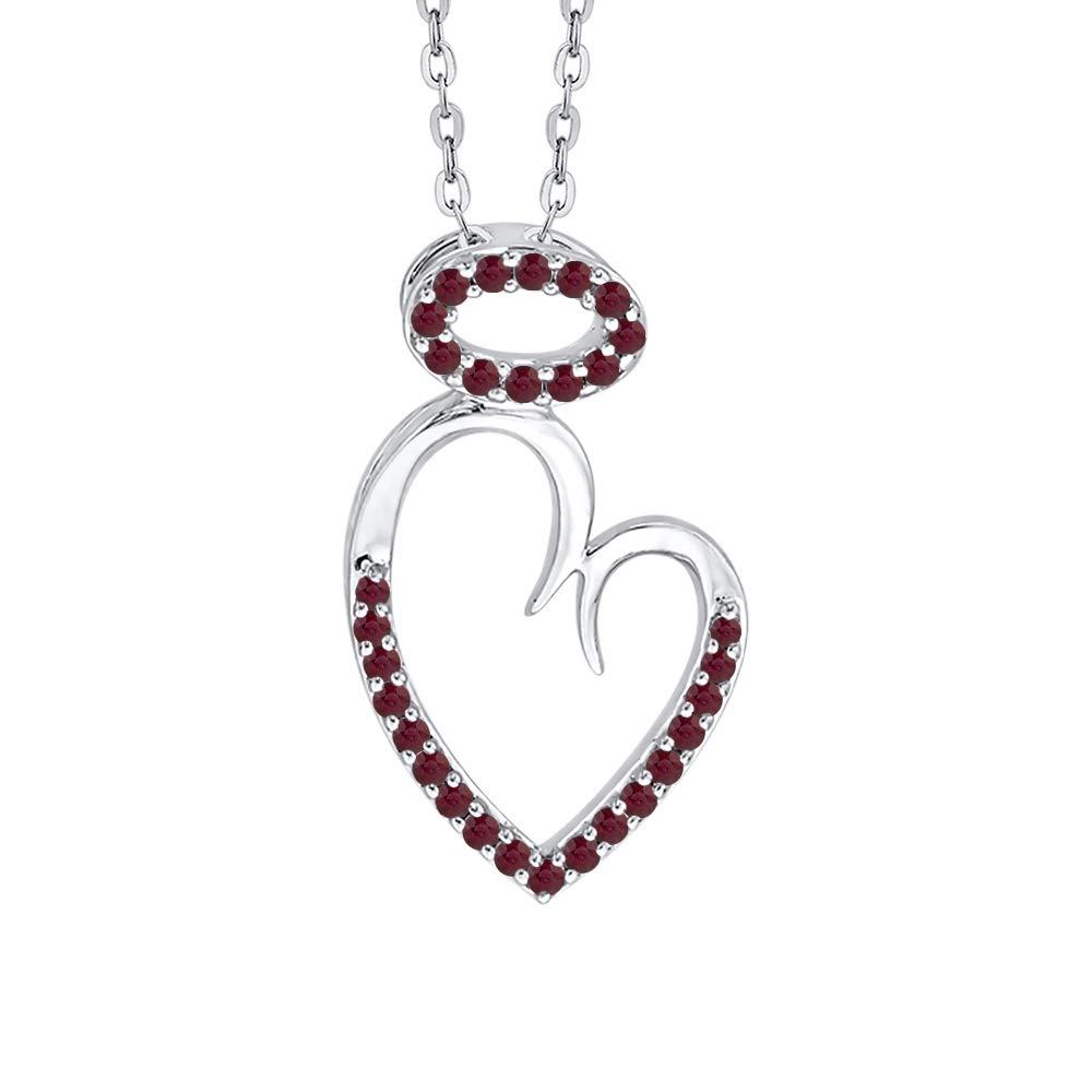 KATARINA Gemstone Angel Heart Pendant Necklace in 10K Gold 1//6 cttw