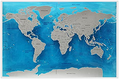 Krisdeer Ocean World Scratch Map, Travel World Scratch Map Ocean ...