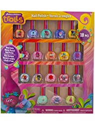 TownleyGirl Dreamworks Trolls Non-Toxic Peel-Off Nail Polish, Deluxe Gift Set for Kids, some with Glitter (18)