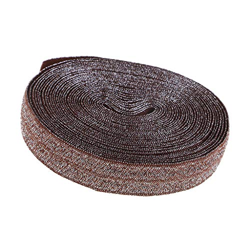 (5 Yards Glitter Fold Over Elastic Trim DIY Crafts Project Sewing Accessories | Color - Brown)