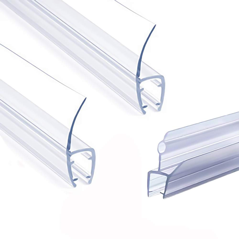 """Frameless Shower Door Seal Strip, Weather Stripping Seal Sweep with Drip Rail for 3/8-Inch Glass, 39""""Length J+ 2PCS x 39"""" Length H-Type, (J+H-Type)"""