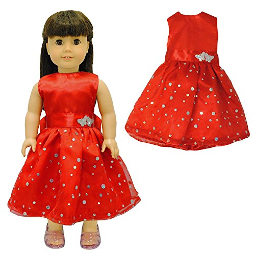 Pink Butterfly Closet Doll Clothes - Beautiful Red Dress with Dots Outfit Fits American Girl Doll, My Life Doll and 18 inch dolls