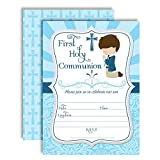 First Holy Communion Religious Party Invitations for Boys, Ten 5''x7'' Fill In Cards with 10 White Envelopes by AmandaCreation