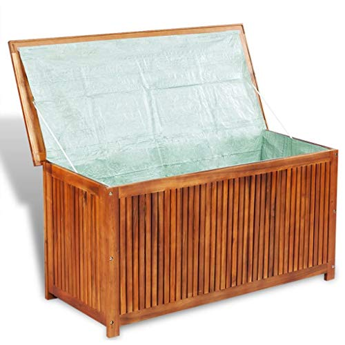 Tidyard Deck Storage Box Outdoor Weather-Resistant & Waterproof Acacia Wood for Storing Cushions, Toys, Tools Accessories