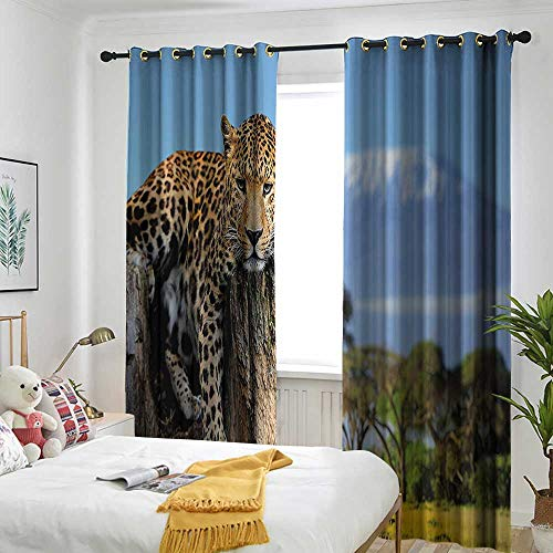 Wildlife Decor Simple Curtain Leopard Sitting on Tree Trunk with Mountain Range Journey Up Kilimanjaro Scene Simple Stylish 72