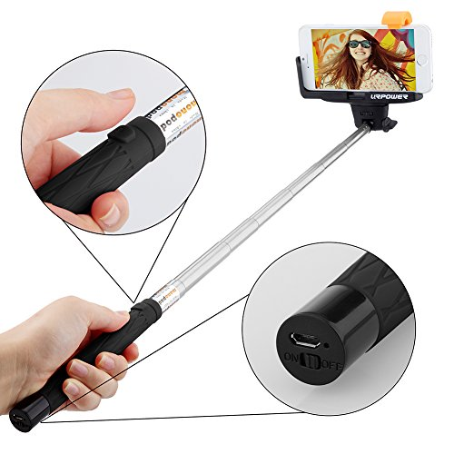 Selfie Stick URPOWER QuickSnap Pro 3-In-1 Self-portrait Monopod Extendable Wireless Bluetooth Selfie Stick with built-in Bluetooth Remote Shutter With Adjustable Phone Holder for iPhone 6 6 Plus 5 5S 5C 4S Samsung Galaxy S6 S5 S4 S3 Note 4 3 2 and...
