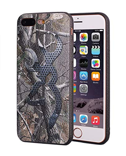 Camo Silicone - iPhone 7 Plus Case,iPhone 8 Plus Case,Browning Camo Design Slim Anti-Scratch Leather Grain Rubber Protective Case for Apple iPhone 7 Plus/iPhone 8 Plus 5.5 inch