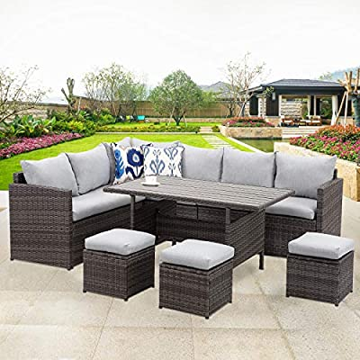 Wisteria Patio 10 Piece Wicker Sectional Corner Sofa Set with Dining Table