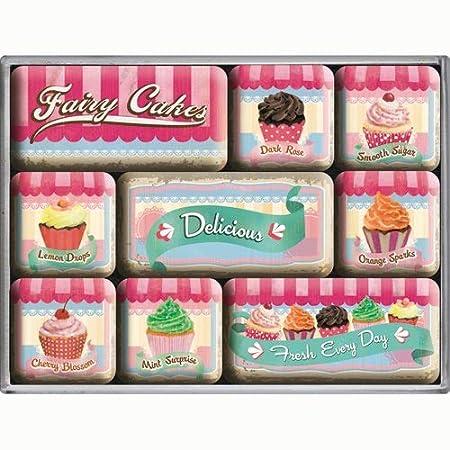 Nostalgic-Art Fairy Cakes - Juego de 9 imanes para Nevera: Amazon ...